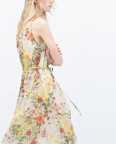 FLORAL DRESS WITH FRONT GATHERING from Zara