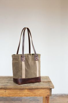 No. 115-L Carry Tote in Khaki Waxed Canvas & Brown by ArtifactBags