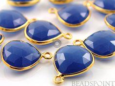 Blue Sapphire Chalcedony Bezel Heart Shape Gemstone by Beadspoint, $7.99