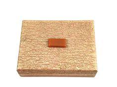 Vintage Jewelry Box Wooden Art Deco Trinket Box Metallic