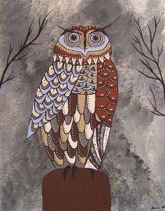 Night Vision ~ Owl Totem Original Painting by Jeanne Fry