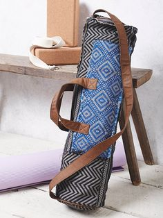 Warrior Yoga Bag | In a tribal inspired print, this easy to carry yoga bag features a zip top closure with vegan leather long strap and top handles. Lined inside with zipper pocket.