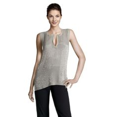 Beaded Silk Top in Taupe