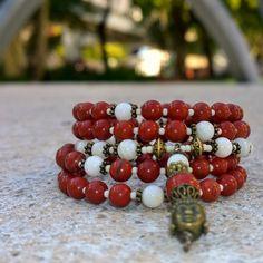 108 Mala Beads - Red Jasper & Mother of Pearl Wrist Mala - Mala Bracelet, Meditation Beads, Yoga Beads, Prayer Beads, 108 Mala, Buddha Mala by MayanRoseShop Mayan Rose on Etsy