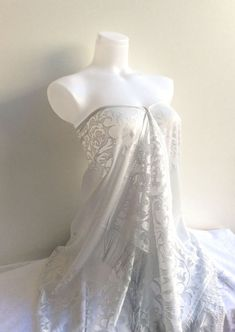 An Elegant  Grey Lace Shawl / Scarf  Floral Lace pattern,  A fantastic Shade of Grey !   Light Gray Lace Shawl give an elegant touch to your wedding dress.   This soft tull...