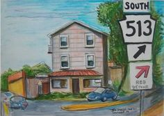 Pendel,Pennsylvania..near the Langhorne,PA SEPTA (Southeastern Pennsylvania Transportation Authority) commyuter train station. During my visit to my hometown (Philadelphia) region..I ate breakfast near this building..at a charming old time cafe..then took the enjoyable train-ride into center city (downtown Philadelphia). I drew this with Micron India ink pens,colored pencils and Faber Castell illustration markers. The location is slightly north of  Philadelphia in historic Bucks County,PA.