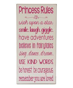 'Princess Rules' Wall Sign on #zulily! #zulilyfinds