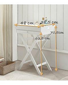 Mesa auxiliar con bandeja extraíble con patas caballetes coul., color blanco: Amazon.es: Hogar