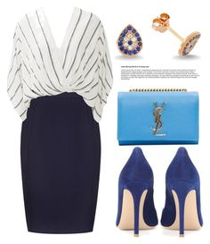 """""""Blue Shades"""" by amorium ❤ liked on Polyvore featuring Amorium, Yves Saint Laurent, Gianvito Rossi, Reiss, Free People and Blue"""