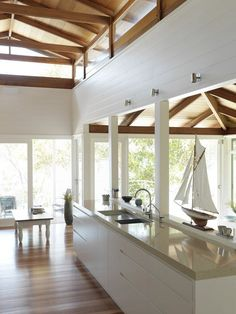 Love this high pitched roof and open plan kitchen design. Beach House Kitchens, Dream Kitchens, Hut House, Rustic Home Design, Beach Shack, Australian Homes, Coastal Living, My Dream Home, Decoration