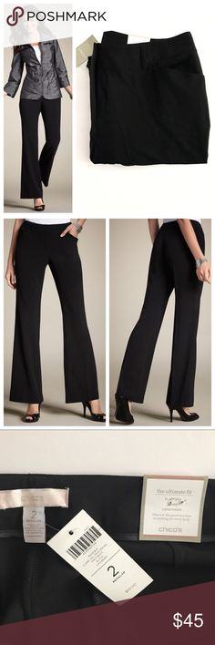 """NWT Chico's Black Flare Leg Trouser Pants Black work pants. Chico's size 2 = size 12. """"Ultimate Fit Flatters Slims Lengthens"""" Also selling in grey! From Chico's """"Our favorite trouser pant updated with a modern flare leg. With the crisp crease, it adds miles of length and streamlines the look. Dress-pant styling with zipper, concealed double-clasp closure, and belt loops. Shaped at the back for a feminine fit. Welted hand pockets. Back pockets are purely decorative for a smooth fit. 63%…"""