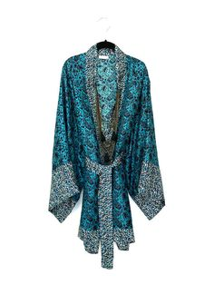 Silk Kimono jacket / robe in a dark turquoise teal silk twill
