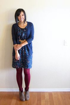 Fall outfit with navy dress, cardi, and coloured tights (try this with my flowered dress, navy tights and burgundy cardi)