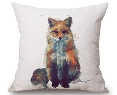 """Droyee Linen Cotton Throw Pillow Case Decorative Cushion Covers Indian National Style Wolf(18""""*18"""")"""