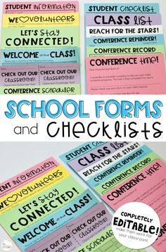 all the forms and checklists you'll ever need for back to school and beyond! This pack has forms for meet the teacher, parent conferences, back to school night, and so much more. Even includes an editable version!