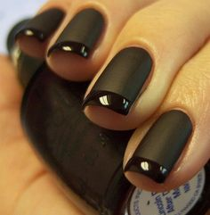 Matte and Polished black nails