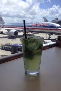 American Airlines plane seen from MIA Mojito Bar