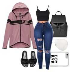 """""""Typical ME Outfit"""" by jordannnnheartsfashion on Polyvore featuring Victoria's Secret, Linda Farrow, Topshop and Puma"""