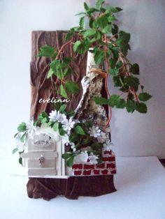 zawieszka ze skóry, brzoza oryginalna listki z bibuły marszczonej,furtka z patyczków po lodach WITAMY W DOMU