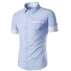 Turn-Down Collar Splicing Design Edging Short Sleeve Shirt For Men