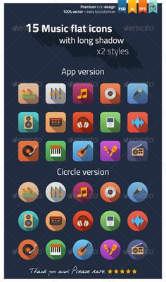 Music Flat Icons  #GraphicRiver        Music flat icons Modern flat icons vector collection with long shadow effect in stylish colors of different elements on music design and development theme. This set contains 15 fully scalable vector icons, app and circle styles. Good choice for use in infographic and interfaces.  The pack includes   2 EPS and 2 AI file with 15 app and circle style icons in vector shapes(easily resize and colors). 2 PSD file with 15 app and circle style icons 1 folder…
