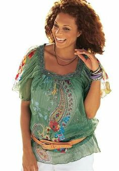 Not sure about the belt, but love the funky top! Plus Size Clothing | Fashion Clothes for Plus Size Women | Roaman's