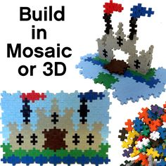 With Plus-Plus, you can build in 2D or 3D. Younger kids can follow along with mosaic patterns, while older kids can let their imaginations run wild! #castle #plusplustoy #oneshape #plusplus #madeindenmark #3D #mosaic #toys #imagination #creative #mosaic #educational #fun Mosaic Patterns, Lego Creations, Fun Activities, Instagram Feed, Minis, Puzzles, 2d, Pokemon, Castle