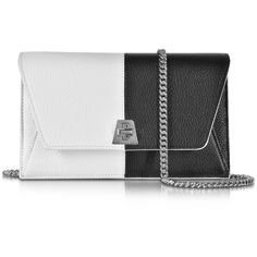 Akris Designer Handbags Anouk Black & White Pebbled Leather Clutch... (1,595 CAD) ❤ liked on Polyvore featuring bags, handbags, clutches, crossbody purses, chain handle handbags, kiss-lock handbags, chain strap crossbody and black and white handbags