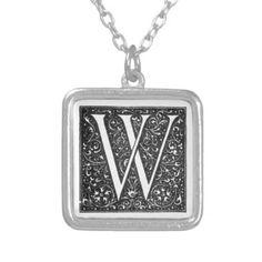Vintage Illuminated Monogram Letter W Necklace - antique gifts stylish cool diy custom