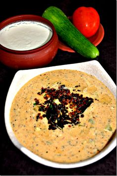A Delicious Cucumber & Tomato Raita, With a Simple Twist, Step Wise Raitha Recipes, Onion Recipes, Chutney Recipes, Kitchen Recipes, Vegetarian Recipes, Cooking Recipes, Vegetarian Cooking, Healthy Recipes, Indian Salads
