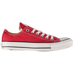 Converse All Star Low Canvas Trainers ($34) ❤ liked on Polyvore featuring shoes, sneakers, converse, sapatos, 18. converse., red, canvas sneakers, red shoes, rubber sole shoes and plimsoll sneakers