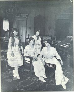 The girls shortly before the abdication of their father in winter 1916/17. Tatiana is seated on the far right, chatting with Olga.