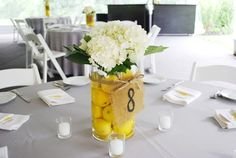 Simple DIY Wedding Centerpieces - Lemons and Hydrangeas Burlap and Twine (Bottle Centerpieces For Men) Lemon Centerpieces, Bottle Centerpieces, Wedding Centerpieces, Burlap Centerpieces, Reception Decorations, Flower Decorations, Lemon Vase, Burlap Table Numbers, Diy Wedding