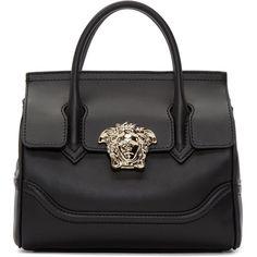 Versace Black Medium Palazzo Bag ($2,740) ❤ liked on Polyvore featuring bags, handbags, shoulder bags, zipper handbag, studded purse, studded handbags, versace shoulder bag and striped handbag