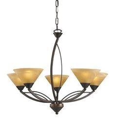ELK Lighting Lighting 7647-5 Five Light Chandelier In Aged Bronze And Tea Swirl Glass