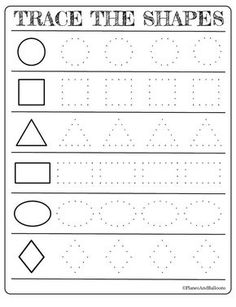 Free printable shapes worksheets for toddlers and preschoolers Free printable shapes worksheets for toddlers and preschoolers. Preschool shapes activities such as find and color, tracing shapes and shapes coloring pages. Shape Worksheets For Preschool, Shape Tracing Worksheets, Shapes Worksheet Kindergarten, Tracing Shapes, Preschool Writing, Preschool Printables, Preschool Shapes, Free Worksheets, Free Printables