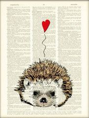 Happy in Love Hedgehog art, this print comes from dire dictionaries destined to be destroyed.These vintage book prints make awesome, unique gifts and are environmentally responsible. $10