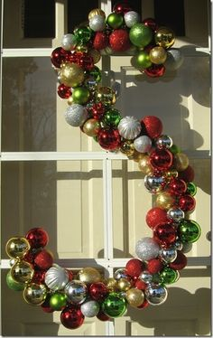 Create a monogram out of Christmas ornaments!  - how to