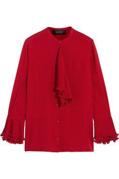 Gucci | Ruffled silk-georgette blouse | NET-A-PORTER.COM