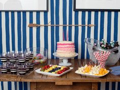 I get that this is a Kid's party, but I kinda wanna steal the theme for my next bday! The Setup   Striped Kids' Birthday Party Theme   Everywhere