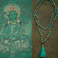 GREEN TARA MALA long jade necklace // Bodhi seed / Silk tassel / hematite / jade in teal / Yoga Necklace