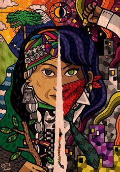 Encontrado en behance.net La lucha no continúa, es continua on Behance by El Cometa Ludo. Enlace entre los movimientos indígenas y las manifestaciones en la actualidad en América Latina Arte Latina, Psy Art, Art Folder, Desenho Tattoo, Feminist Art, Mexican Art, Urban Art, Black Art, Art Drawings