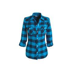 dELiAs > apparel > catalog/web exclusives (57 PLN) ❤ liked on Polyvore featuring tops, shirts, plaid, blusas, tartan top, blue shirt, blue top, tartan shirts and plaid shirts