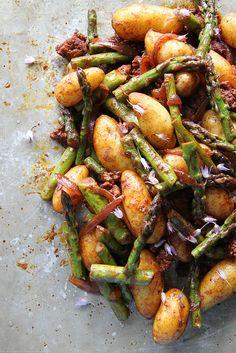 Smoky Potatoes with Asparagus and Chorizo by Heather Christo