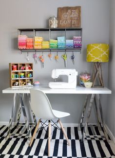 Wall space is your best friend when it comes to organizing your sewing corner.