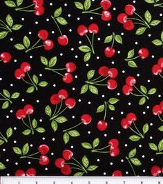 Novelty Cotton Fabric - Dots with Cherries - Fabric - Quilt Fabric - Fabric at JOANN Cotton Quilting Fabric, Cotton Quilts, Novelty Fabric, Quilted Wall Hangings, Fabric Remnants, Joann Fabrics, Fabric Online, Black Fabric, Printing On Fabric