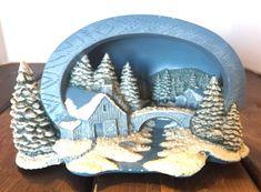 Hershey Molds 1994 Christmas Village Winter Alps Blue Skiing Holiday Decor