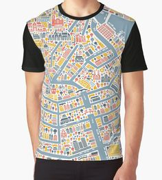 'Amsterdam City Map' Graphic T-Shirt by Vianina Amsterdam Attractions, City Map Poster, Amsterdam City, Vivid Colors, Female Models, How To Make, How To Wear, Mens Tops, Cotton