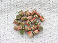 HANDMADE Polymer Clay Tube Beads Olive Green by Number13BusShelter