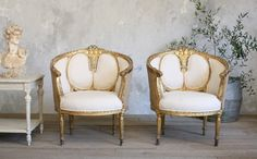 One of a Kind 1940's Pair Louis XVI Gilt Bergeres